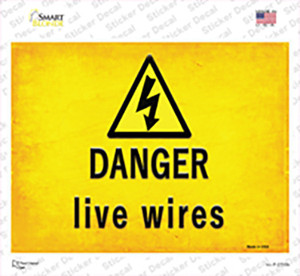 Danger Live Wires Wholesale Novelty Rectangle Sticker Decal