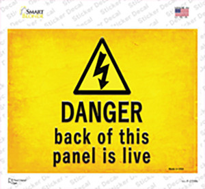 Danger Back of This Panel is Live Wholesale Novelty Rectangle Sticker Decal