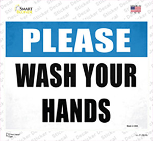 Please Wash Your Hands Blue Wholesale Novelty Rectangle Sticker Decal