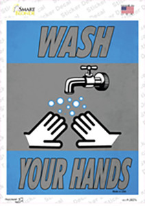 Wash Your Hands Vertical Wholesale Novelty Rectangle Sticker Decal