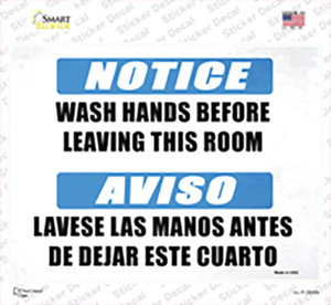 Notice Wash Hands Wholesale Novelty Rectangle Sticker Decal
