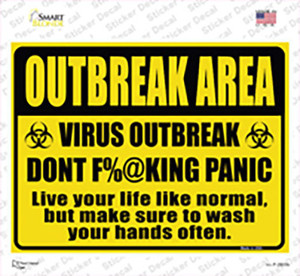 Outbreak Area Wholesale Novelty Rectangle Sticker Decal
