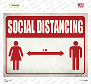 Social Distancing Red Wholesale Novelty Rectangle Sticker Decal