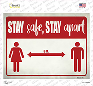 Social Distancing Script Red Wholesale Novelty Rectangle Sticker Decal