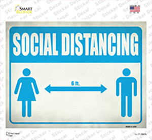 Social Distancing Blue Wholesale Novelty Rectangle Sticker Decal