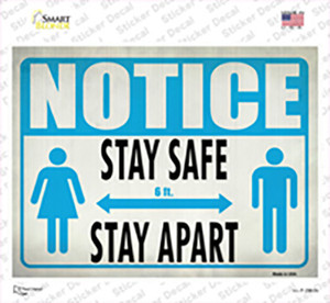 Stay Safe, Stay Apart Wholesale Novelty Rectangle Sticker Decal