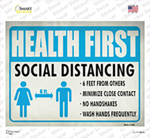 Health First Social Distancing Wholesale Novelty Rectangle Sticker Decal