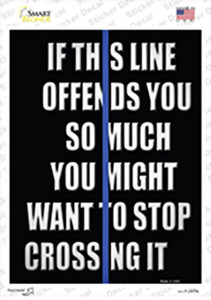 Stop Crossing Blue Line Wholesale Novelty Rectangle Sticker Decal