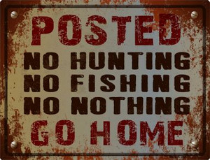 No Hunting No Fishing Wholesale Metal Novelty Parking Sign