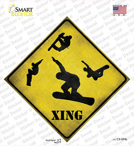 Snow Boarder Xing Wholesale Novelty Diamond Sticker Decal