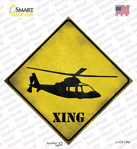 Helicopter Xing Wholesale Novelty Diamond Sticker Decal