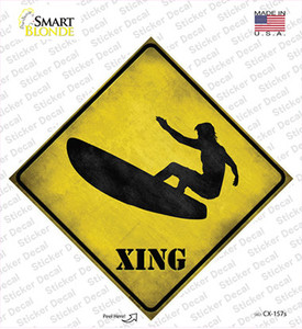 Surfer in Action Xing Wholesale Novelty Diamond Sticker Decal