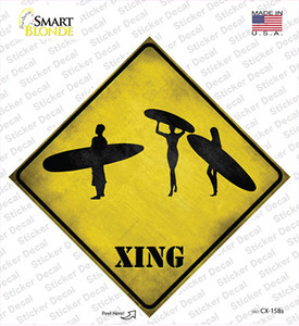 Surfers Xing Wholesale Novelty Diamond Sticker Decal