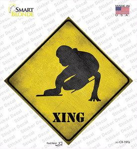 Speed Skater Xing Wholesale Novelty Diamond Sticker Decal