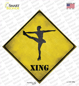 Twirling Figure Skater Xing Wholesale Novelty Diamond Sticker Decal