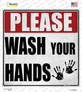 Please Wash Your Hands Wholesale Novelty Square Sticker Decal