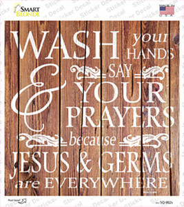 Jesus and Germs Wholesale Novelty Square Sticker Decal