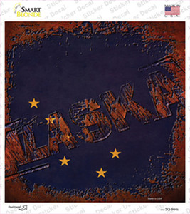 Alaska Rusty Stamped Wholesale Novelty Square Sticker Decal