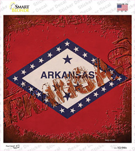 Arkansas Rusty Stamped Wholesale Novelty Square Sticker Decal