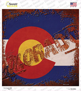 Colorado Rusty Stamped Wholesale Novelty Square Sticker Decal