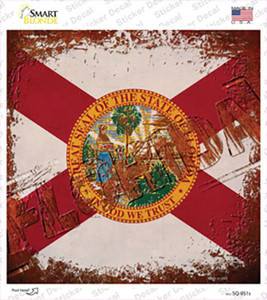 Florida Rusty Stamped Wholesale Novelty Square Sticker Decal