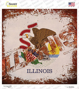 Illinois Rusty Stamped Wholesale Novelty Square Sticker Decal