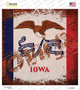 Iowa Rusty Stamped Wholesale Novelty Square Sticker Decal