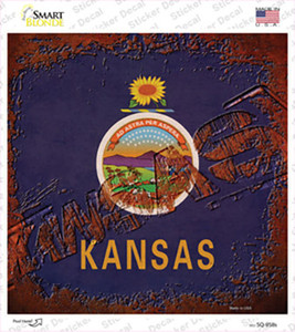Kansas Rusty Stamped Wholesale Novelty Square Sticker Decal