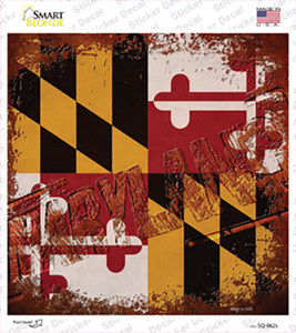 Maryland Rusty Stamped Wholesale Novelty Square Sticker Decal