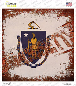 Massachusetts Rusty Stamped Wholesale Novelty Square Sticker Decal