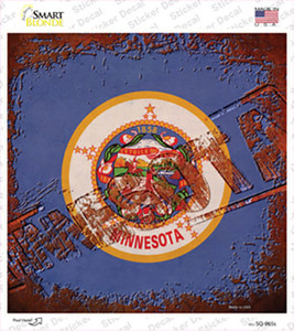 Minnesota Rusty Stamped Wholesale Novelty Square Sticker Decal
