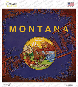 Montana Rusty Stamped Wholesale Novelty Square Sticker Decal
