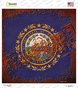 New Hampshire Rusty Stamped Wholesale Novelty Square Sticker Decal