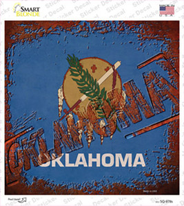 Oklahoma Rusty Stamped Wholesale Novelty Square Sticker Decal