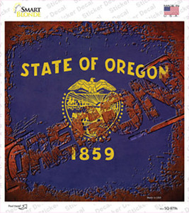 Oregon Rusty Stamped Wholesale Novelty Square Sticker Decal