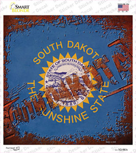South Dakota Rusty Stamped Wholesale Novelty Square Sticker Decal