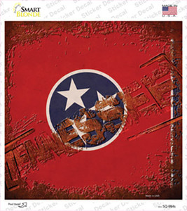 Tennessee Rusty Stamped Wholesale Novelty Square Sticker Decal