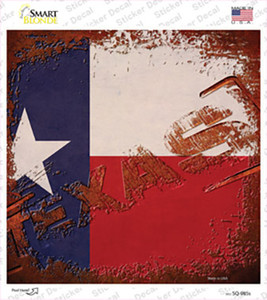 Texas Rusty Stamped Wholesale Novelty Square Sticker Decal