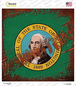 Washington Rusty Stamped Wholesale Novelty Square Sticker Decal