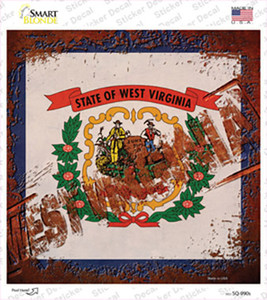 West Virginia Rusty Stamped Wholesale Novelty Square Sticker Decal