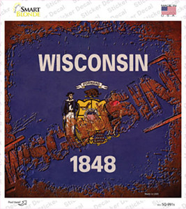 Wisconsin Rusty Stamped Wholesale Novelty Square Sticker Decal