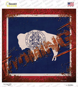 Wyoming Rusty Stamped Wholesale Novelty Square Sticker Decal