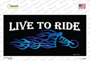 Live To Ride Blue Flame Wholesale Novelty Sticker Decal