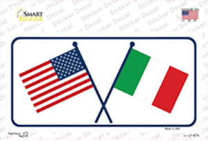 United States Italy Crossed Flags Wholesale Novelty Sticker Decal