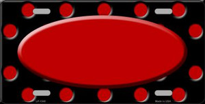 Red Black Polka Dot Print With Red Center Oval Wholesale Metal Novelty License Plate LP-1540