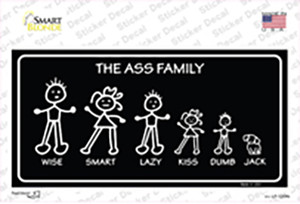 The Ass Family Wholesale Novelty Sticker Decal