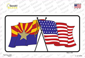 Arizona American Crossed Flags Wholesale Novelty Sticker Decal