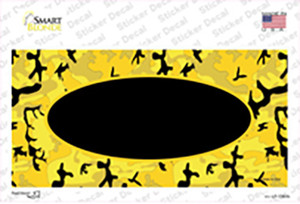 Yellow Black Camouflage With Black Center Oval Wholesale Novelty Sticker Decal
