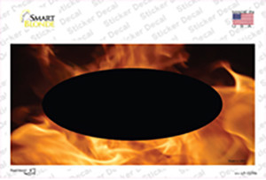 Real Flame With Black Center Oval Wholesale Novelty Sticker Decal