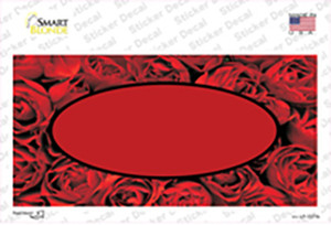 Red Roses With Red Center Oval Wholesale Novelty Sticker Decal